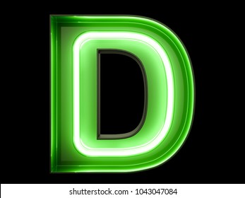 Neon green light alphabet character D font. Neon tube letters glow effect on black background. 3d rendering