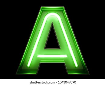 Neon green light alphabet character A font. Neon tube letters glow effect on black background. 3d rendering