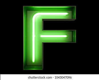 Neon green light alphabet character F font. Neon tube letters glow effect on black background. 3d rendering