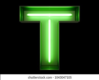 Neon green light alphabet character T font. Neon tube letters glow effect on black background. 3d rendering