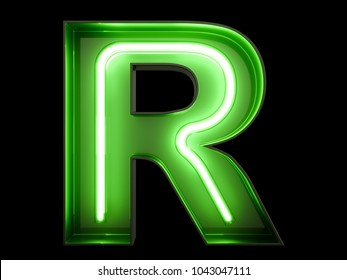 Neon green light alphabet character R font. Neon tube letters glow effect on black background. 3d rendering