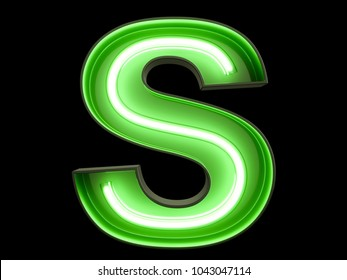 Neon green light alphabet character S font. Neon tube letters glow effect on black background. 3d rendering