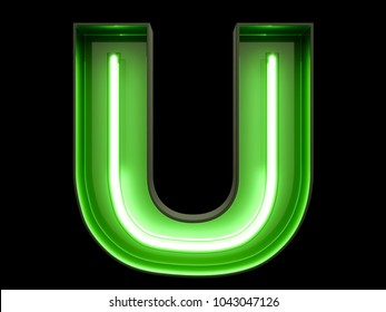 Neon green light alphabet character U font. Neon tube letters glow effect on black background. 3d rendering