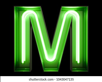 Neon green light alphabet character M font. Neon tube letters glow effect on black background. 3d rendering