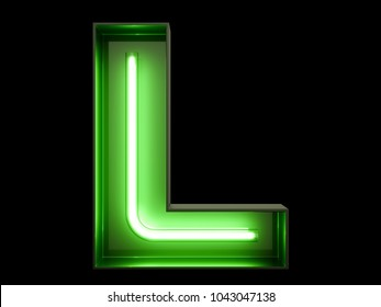 Neon green light alphabet character L font. Neon tube letters glow effect on black background. 3d rendering