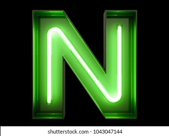Neon green light alphabet character N font. Neon tube letters glow effect on black background. 3d rendering