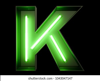 Neon green light alphabet character K font. Neon tube letters glow effect on black background. 3d rendering