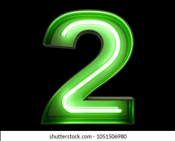 Neon green light glowing digit alphabet character 2 two font. Front view illuminated number 2 symbol on black background. 3d rendering illustration