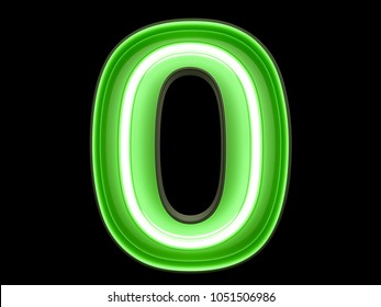 Neon green light glowing digit alphabet character 0 zero null font. Front view illuminated number 0 symbol on black background. 3d rendering illustration