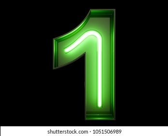 Neon green light glowing digit alphabet character 1 one font. Front view illuminated number 1 symbol on black background. 3d rendering illustration