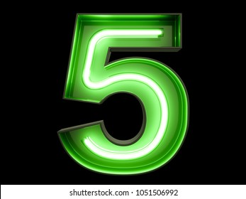 Neon green light glowing digit alphabet character 5 five font. Front view illuminated number 5 symbol on black background. 3d rendering illustration