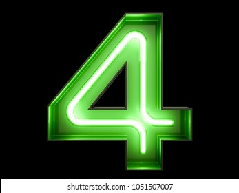 Neon green light glowing digit alphabet character 4 four font. Front view illuminated number 4 symbol on black background. 3d rendering illustration