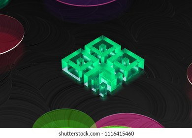 Neon Green Qrcode Glass Icon on the Black Background. 3D Illustration of Green Barcode, Code, Qr, Qrcode, Quick Response, Scan Icon Set on the Dark Black Background.