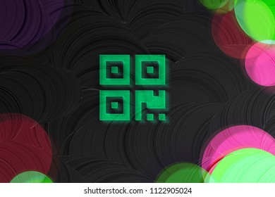 Neon Green Qrcode Glass Icon on the Black Painted Background. 3D Illustration of Green Barcode, Code, Qr, Qrcode, Quick Response, Scan Icon Set on the Dark Black Background.