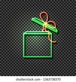 Neon Green and Red Box, Glowing Icon on Dark Transparent Background, Gift Open Box with Bow.