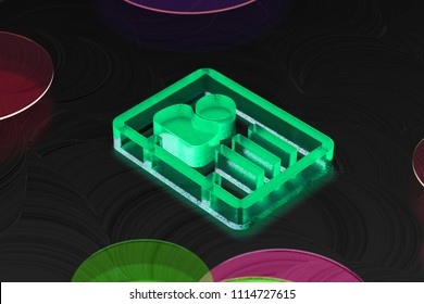 Neon Green Vcard Glass Icon on the Black Background. 3D Illustration of Green v Card, v Card, Vcard, Vcard File, Vcard File Icon Set on the Dark Black Background.