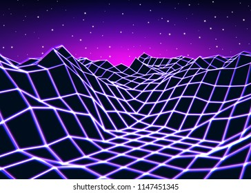 Neon grid landscape with old game style for New Retro Wave party or cover. 3D illustration