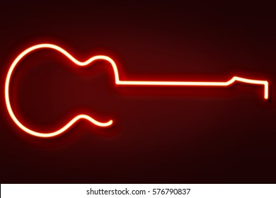 Neon guitar light illustration.