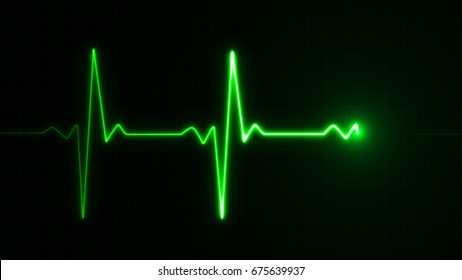 Neon Heart beat pulse in green illustration