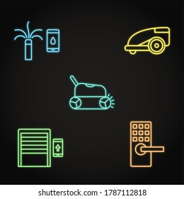 Neon house and garden automation icon set. Remote controlled garage door, automated lock, lawn mower, pool cleaner and smart sprinkler.