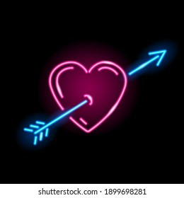 Neon icon of heart with arrow isolated on black background. Love, St. Valentine Day, lovestruck concept. Illustration.