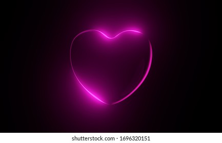 Neon Iridescent Abstract Glow Rainbow Spectral Colorful 3d Heart Illustration
