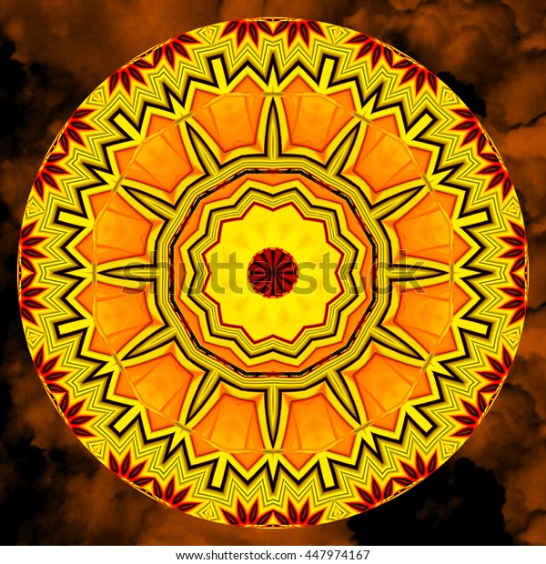 Neon Kaleidoscope yellow black red flower floral background backdrop intricate vivid intricate wheel bright vivid squirts of color twisted into a cool design pattern
