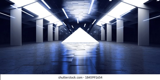 Neon Laser Electric Glowing Triangle Hangar Blue Lights In Sci Fi Futuristic Warehouse Cement Concrete  Tunnel Corridor  Alien Spaceship 3D Rendering illustration