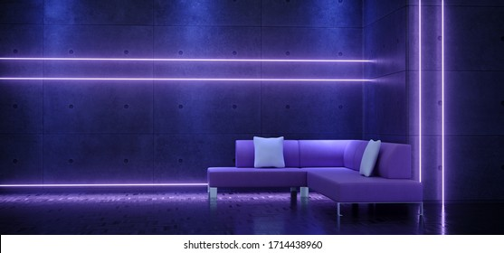 Neon Laser Glowing Purple Blue Dance Club Sofa Couch  Synth Cyber Music Show Event Concrete Rough Grunge Wall Glossy Floor Background Retro Modern 3D Rendering Illustration