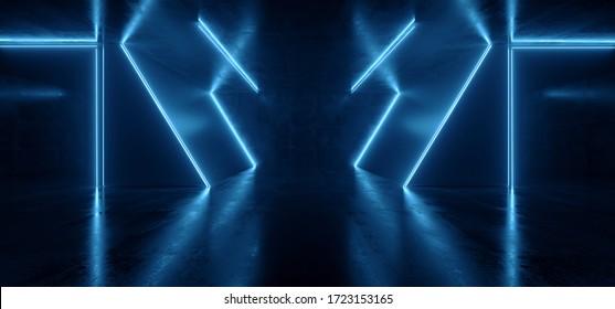 Neon Laser Sci Fi Futuristic Blue Glowing Fluorescent Lights Asphalt Cement Triangle Tunnel Corridor Warehouse Underground Cement Floor Night Dark Background Cyber Virtual Reality  Illustration
