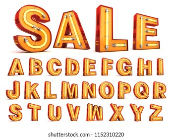 Neon light alphabet 3d rendering with clipping path on white background