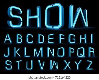 Neon light alphabet 3d rendering