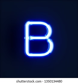 Neon light alphabet character B font. Neon tube letters glow effect on dark blue background. 3d rendering