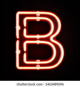 Neon light alphabet character B font. Neon tube letters glow effect on orange background. 3d rendering