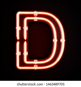 Neon light alphabet character D font. Neon tube letters glow effect on orange background. 3d rendering