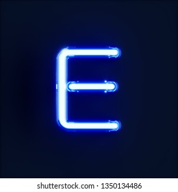 Neon light alphabet character E font. Neon tube letters glow effect on dark blue background. 3d rendering