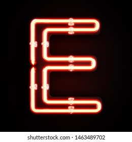 Neon light alphabet character E font. Neon tube letters glow effect on orange background. 3d rendering