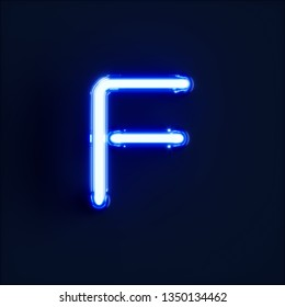 Neon light alphabet character F font. Neon tube letters glow effect on dark blue background. 3d rendering