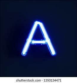 Neon light alphabet character A font. Neon tube letters glow effect on dark blue background. 3d rendering