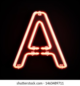 Neon light alphabet character A font. Neon tube letters glow effect on orange background. 3d rendering