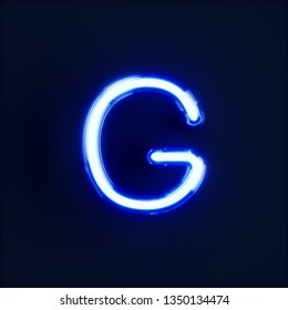 Neon light alphabet character G font. Neon tube letters glow effect on dark blue background. 3d rendering