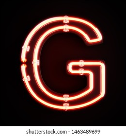 Neon light alphabet character G font. Neon tube letters glow effect on orange background. 3d rendering