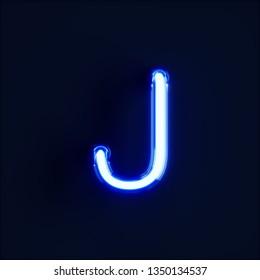 Neon light alphabet character J font. Neon tube letters glow effect on dark blue background. 3d rendering