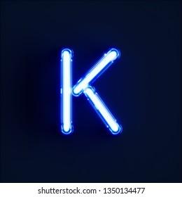 Neon light alphabet character K font. Neon tube letters glow effect on dark blue background. 3d rendering