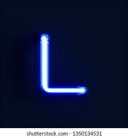 Neon light alphabet character L font. Neon tube letters glow effect on dark blue background. 3d rendering