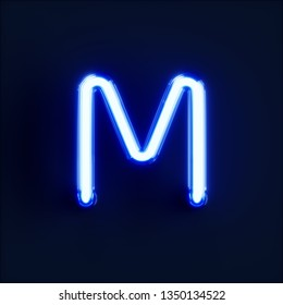 Neon light alphabet character M font. Neon tube letters glow effect on dark blue background. 3d rendering