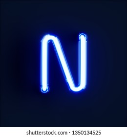 Neon light alphabet character N font. Neon tube letters glow effect on dark blue background. 3d rendering