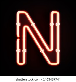 Neon light alphabet character N font. Neon tube letters glow effect on orange background. 3d rendering