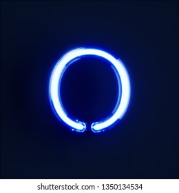 Neon light alphabet character O font. Neon tube letters glow effect on dark blue background. 3d rendering