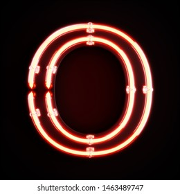 Neon light alphabet character O font. Neon tube letters glow effect on orange background. 3d rendering